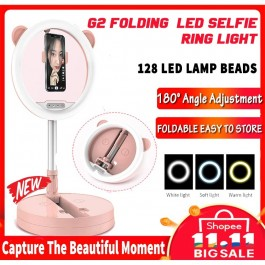 G2 Selfie 3 Color LED Light Ring 26cm With Foldable Portable Stand Phone Holder Tiktok Facebook Live Video Shooting
