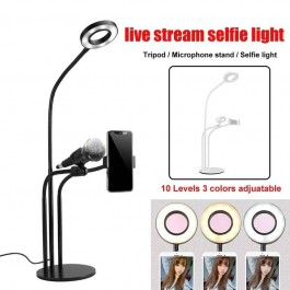 3 In 1 Ring Light Professional Live Steam Flexible Tripod With Selfie Ring Light With Cell Phone Holder Stand for Live Stream/Makeup, LED Camera Lighting