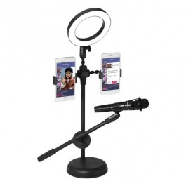 Professional Microphone Stand With 9cm Led Light Ring Phone Holder Destop Tiktok Facebook Live Video Shooting Recording