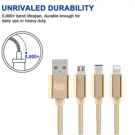 Multi Charging Cable 3 in 1 Multiple USB Charger Cable Adapter Connector with Micro USB/Type C Compatible with Cell Phones Tablets and More