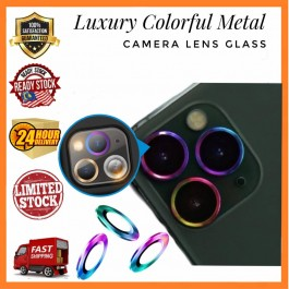 [1 SET] iPhone 11, 11 Pro/Pro Max, 12 , 12 Pro, 12 Pro Max Luxury Diamond Colorful Metal Camera Lens Glass Protector Ring