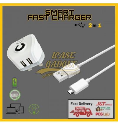 [ORIGINAL] KAZHI C37 C38 Flash Charger 5V 2.4A Dual USB Port Smart Fast Charge FREE Micro USB Data Sync Cable LED Light