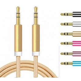 3.5mm AUX Audio Colorful Nylon MP3 Cable 1 Meter