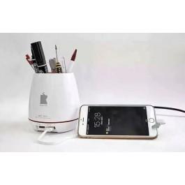 Fast Dual Port USB Mini Charger with Pen Jar & Flower Vase
