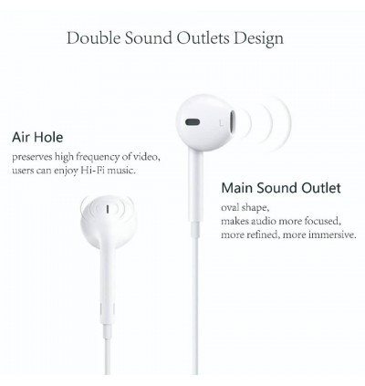 iPhone Lightning Earphone 3.5mm In-Ear Jack Wired Bluetooth Handfree Stereo Music MP3 With Mic Volume Control