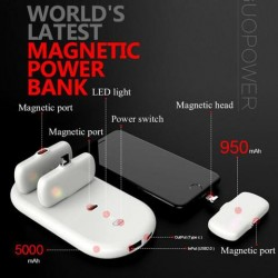 NEW Magnetic Powerbank All In 1 (iOS Lightning + Android/Micro + Type C) MPB-1 Total 8000mAh