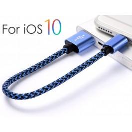 20cm Nylon Short iOS Lightning USB Charging Cable for Power Bank