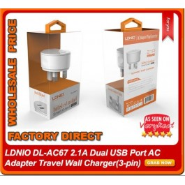 LDNIO AC67 Adapter Dual USB 2.1A Fast Travel Charger