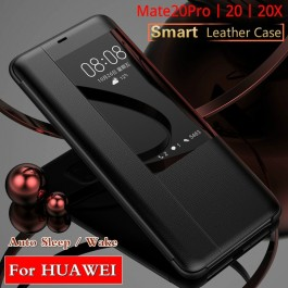 [READY STOCK] Huawei Mate 20, Mate 20 Pro Smart Clear View Touch Luxury Leather Flip Case